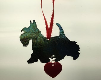 Scottie Silhouette Ornament in Stained Glass