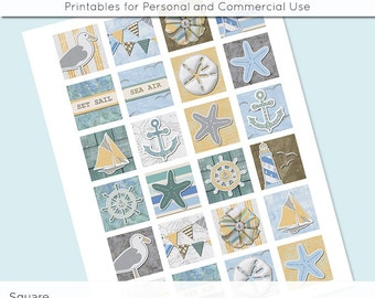 Beach Ocean Nautical 1x1 Inch Squares and 1.5 Inch Squares Digital Collage Sheet for Glass Resin Pendants Charms JPG 1 Inch