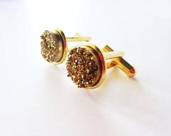 Gold druzy cuff links. Titanium druzy. Gold cuff links. Druzy accessory.  Bezel cuff links for French cuff shirt. Gold drusy cuff links.