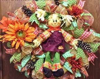 SALE - Scarecrow Girl Floral Pine Cones - Welcome Door Wreath