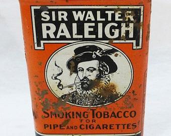Vintage sir walter raleigh pocket smoking tobacco tin pipe cigarettes advertising rustic