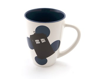Dr. Who Tardis Mug, Doctor Who mug, Bigger on the Inside, navy with polka dots,timelord, gifts under 20