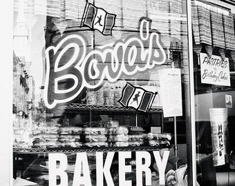 Black and White Bakery Photograph, Bova's Bakery, Boston Photography, Little Italy Cafe Print, Kitchen art, window photography