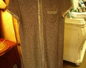 1960s Metallic Silver Knit Zip-up Front Maxi Top/Dress