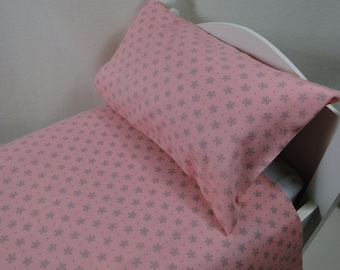 Flat top sheet and pillow set for AMERICAN Girl & other 18 inch doll and light coral/pink tiny gray flowers floral bedding