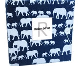 BABY BOOK | Navy Elephant Silhouette Album | Ruby Love Modern Baby Memory Book