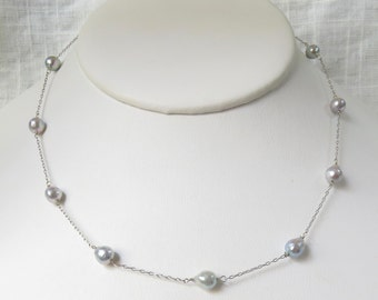 Vintage 14k White Gold and Pearl Necklace