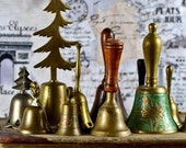 antique brass, metal, wooden bell, vintage bell, old, home decor, cool vintage, home decor, collectibles P3-1