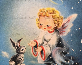 Christmas Angel with Bunny Image Digital Download vintage holiday xmas christmas card  1940s ornaments night snow stars wings forest animal
