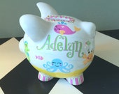 Sea Animals Piggy Bank Size Small - Hand Painted - Personalized