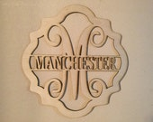 Unfinished Wood Curvy Scallop Frame Name Vine Monogram in 17.5 tall x 16.5 inch Door Hanger