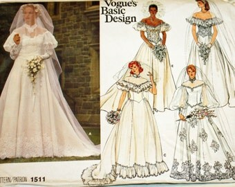 Vintage 1980s, Sewing Pattern, Vogue 15ll, Misses' Bridal Gown, 5 Designs, Misses' Size 10, UNCUT, FF