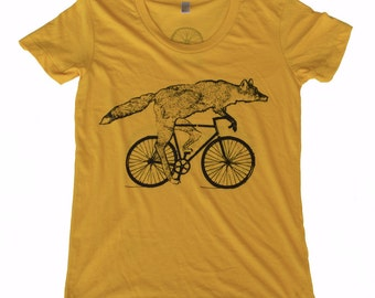 Fox on a Bicycle- Womens T Shirt, Ladies Tee, Tri Blend Tee, Handmade graphic tee, sizes s-xL