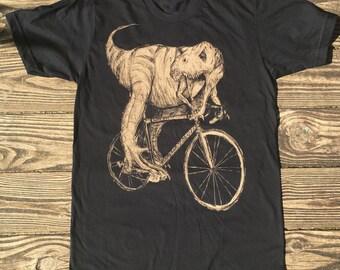 JURASSIC tyrannosaurus REX on a BIKE t-shirt - mens american apparel black shirt - xs s m l xl xxl