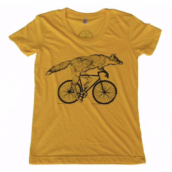 Fox on a Bike - Gold American Apparel Shirt - Ladies TShirt - Complimentary Shipping - Available in s, m, l and xl
