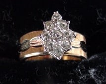 Vintage Cocktail  Ring In 18kt Yellow  Gold and Rhodium Cluster  HGE over Sterling Repousse Girls size 4