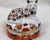 Andrea Sadek Ceramic Cat Trinket Box  Imari Colors Gold ToneTrim  For Cat Lovers