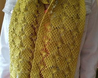Cotton lace scarf lemon grass color