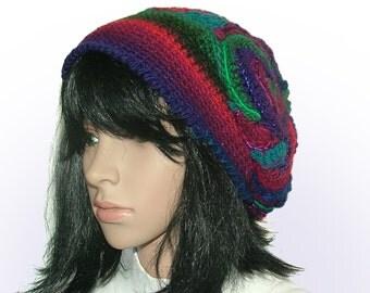 Crochet Beanie Hat Beret, OOAK Freeform Crochet in Purple Red Royal Blue, Wearable Art