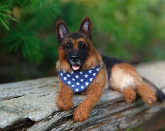 Custom Made to Order Needle Felt German Shepherd Dog Wool From Your Pictures