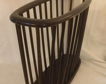 Danish Modern Design Vintage Wood Magazine Rack