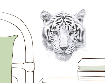 Mini Fabric Wall Decal - Tiger (reusable) NO PVC