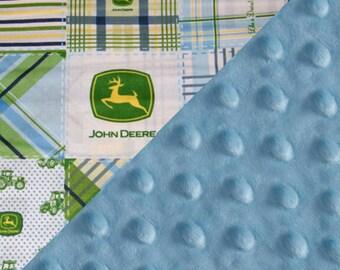 Personalized John Deere Minky Baby Blanket Boy,, Green Blue Cotton