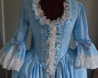 Powdered Blue Marie Antoinette Victorian inspired rococo costume dress sack sacque back