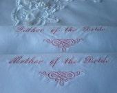 Mother Father of Bride OR Groom Wedding Hankerchiefs.Set of 2.Keepsake.
