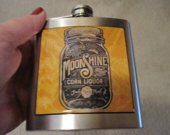 Moon Shine Vintage Label Liquor Hip Flask 6 ounce