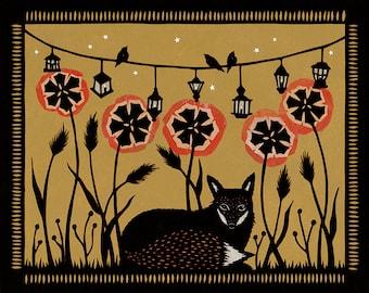 Lantern Lit Meadow - 8 x 10 inch Cut Paper Art Print