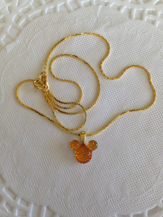 MOUSE EARS Necklace for Wedding Party in Dazzling Bright Golden Acrylic