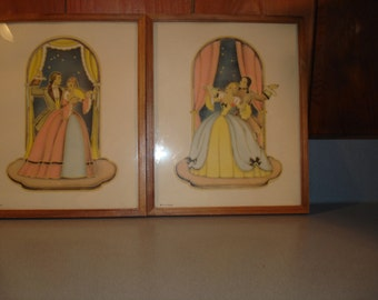 Antique/ Vintage Art/ Colonial Couple / Edwardian   Estate Find/  10 1/2 by 8 1/2 inches  Home Decor