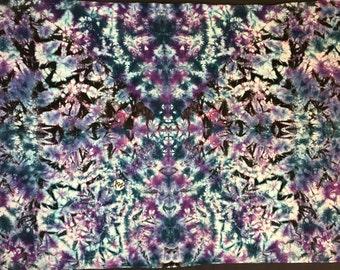 "Hand-Dyed Tapestry, Blue Purple Crunch, (5'6""W x 3'8""H) Rayon, Original Tie-Dye"