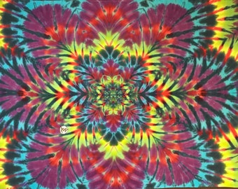 """Hand-Dyed Tapestry, Red Purple Fractal, (5'6""""W x 3'8""""H) Rayon, Original Tie-Dye"""