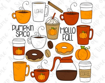 Pumpkin Spice Hand Drawn Digital Clipart - Set of 20 - Coffee, Latte, Autumn, Fall, Donuts, Coffee Beans - Instant Download - Item #9165