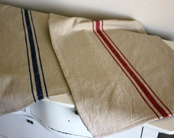 Striped Cotton Table Runner -  French Grainsack Style Runner - Tomato Red or Blue Stripe