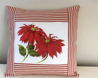 Christmas Pillow - Retro Poinsettia and Red Ticking Pillow Cover