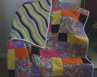 CLEARANCE Zebra Floral Shuffled 9 Square Pattern Quilt Lap Blanket Gray Yellow Black Wave Fleece Back