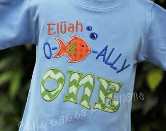 Ofishally One Shirt - Fishing Birthday Shirt - Personalized Shirt - First Birthday Shirt - Gone Fishing - Fishing Party Shirt - Fish Shirt