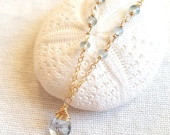 Moss Aquamarine necklace- dainty 14k gold filled AAA Moss Aquamarine beaded wire wrapped necklace