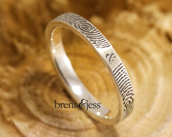 Custom Handcrafted Wedding ring  You & Me Forever Fingerprint Ring in Sterling Silver Narrow Wedding Ring With Your Actual Fingerprint