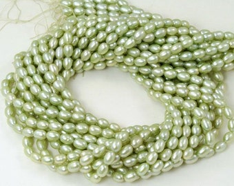 Freshwater Rice Pearls Light Mint Green - 5mm x 7mm