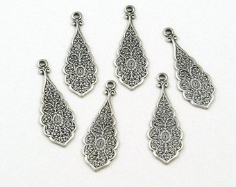 Silver Ox Solid Brass Highly Detailed Victorian Style Drops for Earrings 30mm x 10mm  - 6
