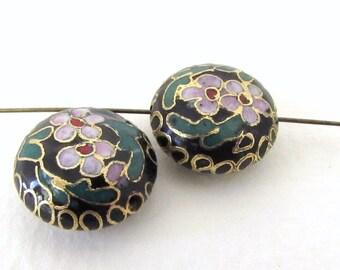 Vintage Cloisonne Beads Enamel Flower Pink Black Green Gold Puffy Coin 16mm vgb0935 (2)