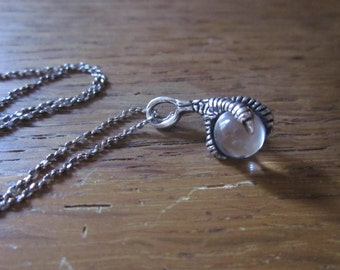 Sterling Silver claw and crystal ball twist chain necklace