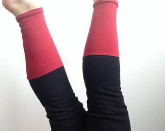 Thigh Highs. Red and Black Eco Leggings. Above the Knee Leg Warmers. Color Block Black and Red Tube Socks Organic Cotton Socks Gifts for Her