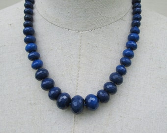 Dark  Sapphire Blue Faceted Gemstone Beaded Graduated Necklace