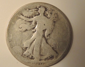 1920 Walking Liberty Half Dollar- Vintage Coins - Collectable USA Coins - FREE Shipping USA