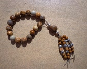 Greek Worry Beads Picture Jasper Gemstone Beads and Silver Plated Beads with Beaded Tassel, Worry Beads, Jasper Beads, Meditation Beads, Zen
